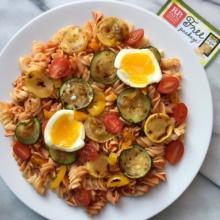 Fusilli Pasta with Tomato Sauce, Veggies, & Soft-Boiled Egg