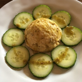Gluten-free hummus with cucumbers from Gaia Restaurant