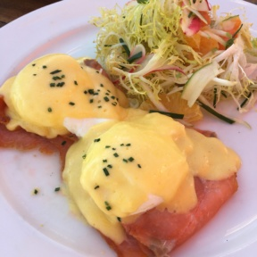 Gluten-free smoked salmon eggs Benedict from Gladstone's