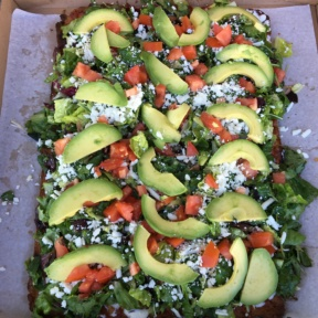 Large Gluten-free avocado salad pizza from Greyblock Pizza