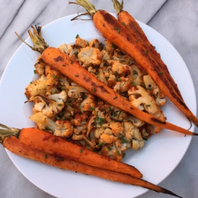Gluten-free Harissa Roasted Carrots & Cauliflower