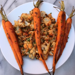 Harissa Roasted Carrots & Cauliflower