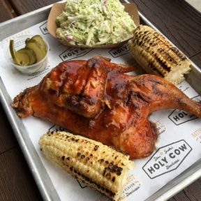 Gluten-free chicken and corn from Holy Cow BBQ
