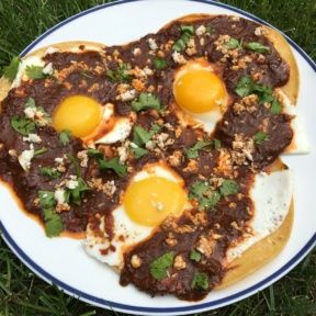 Gluten-free Huevos Rancheros with 3 tortillas