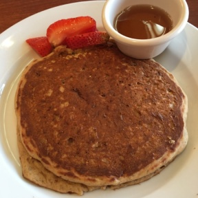 Gluten-free pancakes with strawberries from Hugo's