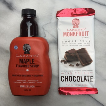 Monkfruit maple syrup and chocolate by Lakanto