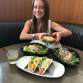 Jackie eating dinner at OC Brewhouse