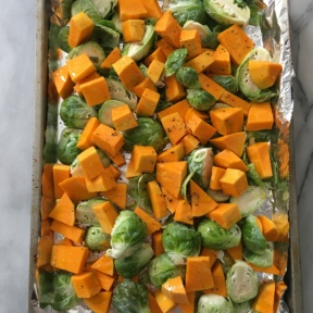 About to roast brussels sprouts and squash
