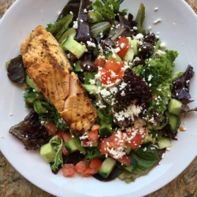 Grilled salmon salad from Panini Kabob Grill