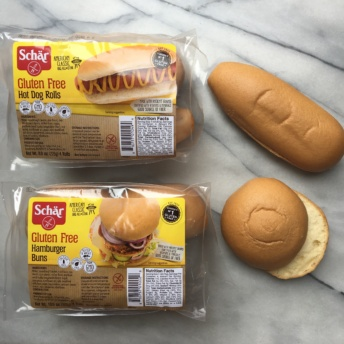 Gluten free hamburger and hot dog buns