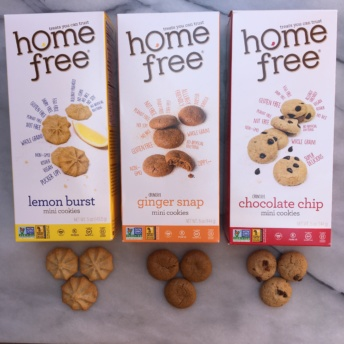 Boxes of gluten-free vegan cookies by Homefree