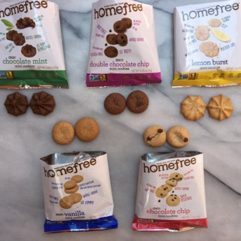 Individual bags of gluten-free cookies by Homefree