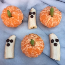 Fruit Pumpkins and Ghosts for Halloween