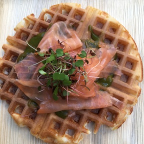 Gluten-free smoked salmon waffle from Inday