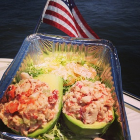 Gluten-free lobster stuffed avocados from Indian Harbor Yacht Club (IHYC)