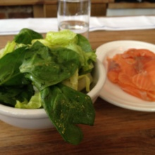 Gluten-free smoked salmon and salad from Jeffrey's Grocery