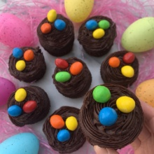 Gluten-free Egg Nest Cupcakes with peanut M&M's