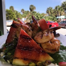 Gluten-free watermelon shrimp salad from Johnny Longboats