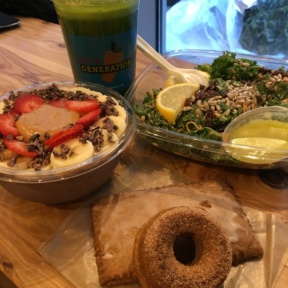 Gluten-free acai bowl, donut, and salad from Juice Generation