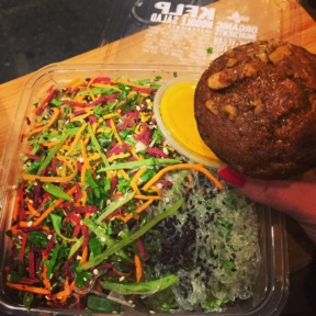 Gluten-free salad and muffin from Juice Generation