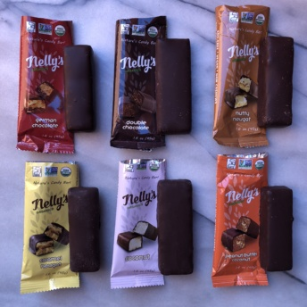Six gluten-free chocolate bars by Nelly's Organics
