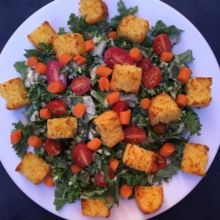 Gluten-free Kale Caesar Salad with Cornbread Croutons