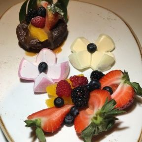 Gluten-free flourless chocolate cake and mochi from Katsuya