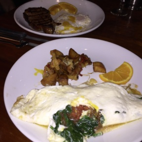 Gluten-free veggie omelette and steaks from Knickerbocker Bar & Grill