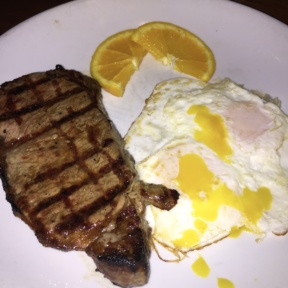 Gluten-free steak and eggs from Knickerbocker Bar & Grill