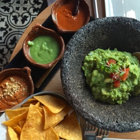 Gluten-free guacamole and chips from La Loteria