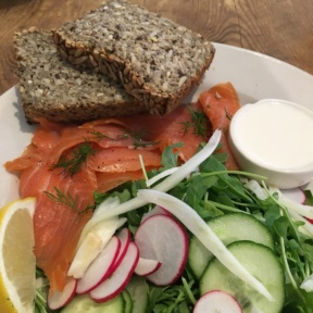 Gluten-free smoked salmon bread from Le Pain Quotidien