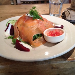 Gluten-free smoked salmon salad from Le Pain Quotidien