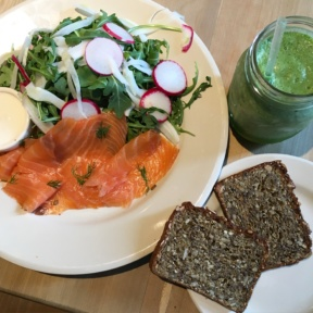 Gluten-free bread and smoked salmon salad from Le Pain Quotidien