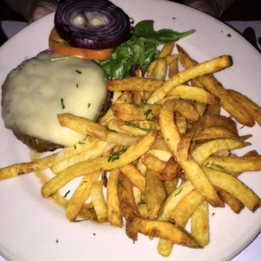 Gluten-free burger and fries from Les Halles