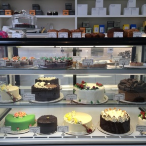 Gluten-free cake display from Lilac Patisserie