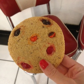 Gluten-free M&M cookie from Lilly Mae's Cinnamon Rolls