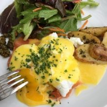 Gluten-free smoked salmon eggs Benedict from Little Next Door