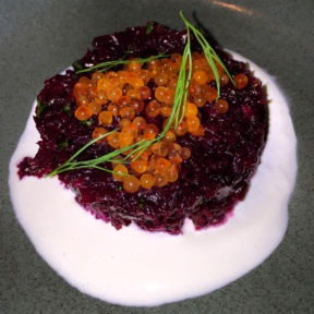 Gluten-free beet appetizer from Little Park