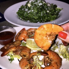 Gluten-free shrimp and salad from Live Bait