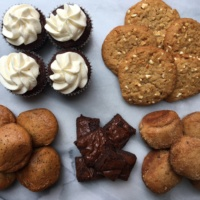 A platter of gluten-free baked goods from Lucky Spoon Bakery