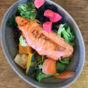 Gluten-free salmon entree from M Cafe