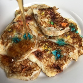 M&M's Pancakes with maple syrup