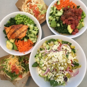 Gluten-free poke and salad spread from Malibu Fish Grill