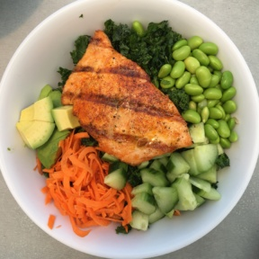 Gluten-free salmon bowl from Malibu Fish Grill