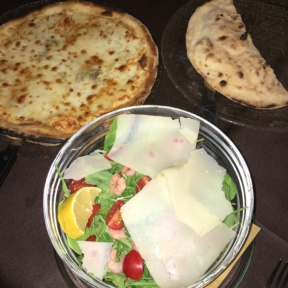 Gluten-free pizzas and salad from Mama Eat!