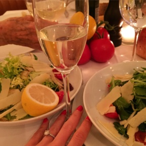 Gluten-free salads and champagne from Mamo