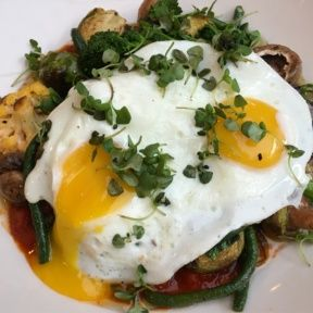 Gluten-free veggie dish with eggs from Messhall Kitchen