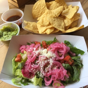 Gluten-free chips and salad from Oaxaca Taqueria