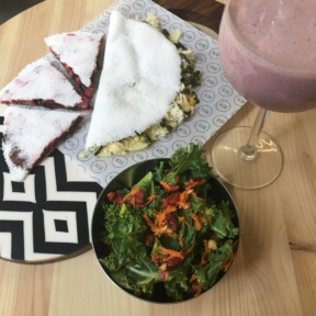 Gluten-free oca crepe with salad from Oca