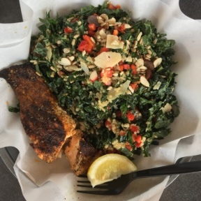Gluten-free kale salad with salmon from Ocean Market Grill